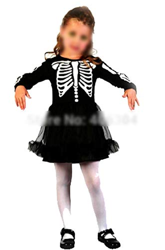 Ablaze Jin Halloween Children Costume Halloween Party Costume Black Ghost Dress Printing Skeleton Witch Costume,L
