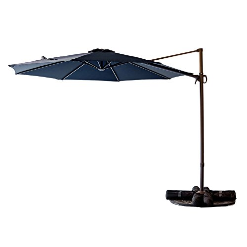 C-Hopetree 10' Cantilever Offset Parasol, Large Hanging Patio Umbrella, Cross Base, Infinite Tilting, 360° Rotation Axis, Large Round, Navy Blue by C-Hopetree (Image #1)