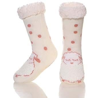Kids Boys Girls Warm Slipper Socks Cute Animal Soft Thicken Winter Thermal Fleece Fuzzy Non-Skid Children Home Socks (Beige Sheep, 5-8 Years)