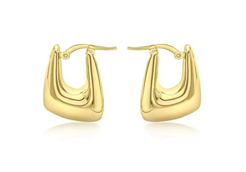 Or jaune 9 ct rectangle Electroform Boucles d'oreilles créoles