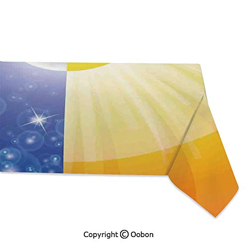 oobon Space Decorations Tablecloth, Split Design with Stars in The Sky and Sun Beams Light Solar Balance Image, Rectangular Table Cover for Dining Room Kitchen, W60xL84 inch