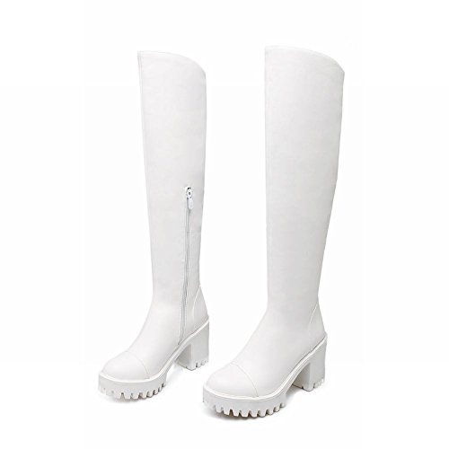 Carolbar Womens Zip Cosplay Platform Hoge Hak Fashion Tall Motorlaarzen Wit