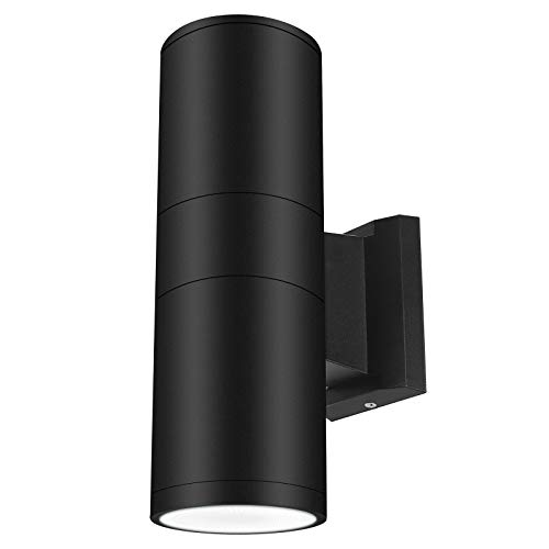 LED Outdoor Wall Sconce Exterior Wall Lamp Up Down Light Okelux 30W Cylinder Waterproof IP65, Black Fixture (Daylight 6000K), 5 Years Warranty