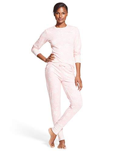 - bebe Womens 2 Piece Long Sleeve Shirt Elastic Waist Skinny Pants Lounge Pajama Set Light Pink Small