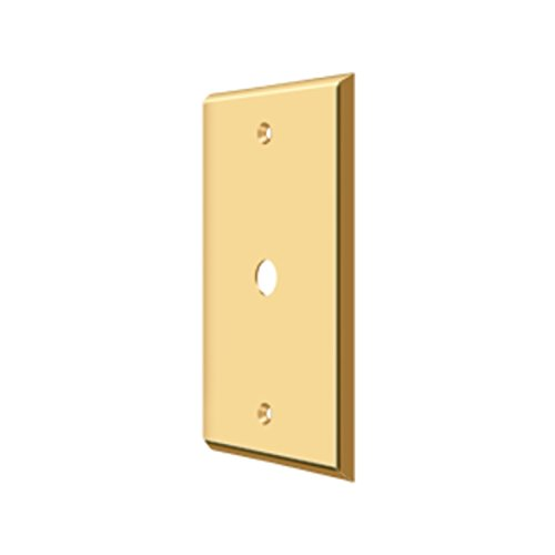 Deltana CPC4764 Solid Brass Coaxial Cable Switch Plate Cover, Lifetime Polished Brass