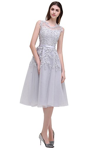 - Sleeveless Lace Appliques Silver Short Homecoming Dress Prom Gowns
