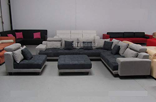 Superb 5Pc New Modern Gray Microfiber Big Sectional Sofa Set S150Rg Machost Co Dining Chair Design Ideas Machostcouk