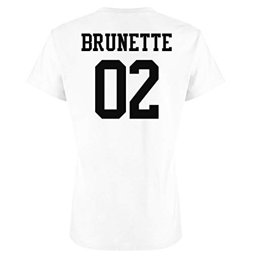 Customized Girl Brunette Best Friend Matching Shirts: Ladies Slim Fit Favorite Tee White