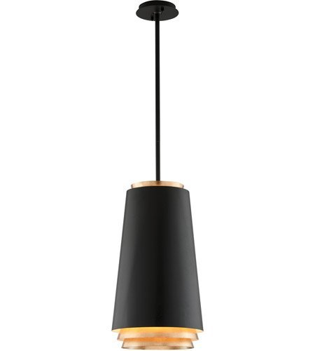 Pendants 3 Light With Textured Black with Gold Leaf Accents Finish Hand-Worked Iron Material LED 22 inch Long 36 Watts