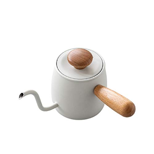 YAMAZA Mini tetera de émbolo, cafetera de acero inoxidable con caño fino y mango de madera, tetera de doble aislamiento…