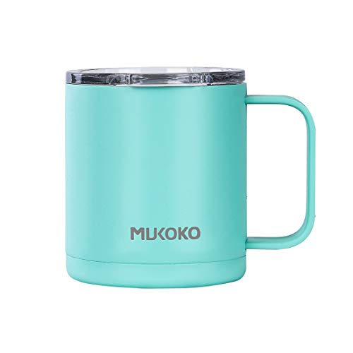 12oz Stainless Steel Vacuum Insulated Travel Mug with Lid and Handle Double Wall Vacuum Sealed Camp Cup-For Hot or Cold Bule by MUKOKO