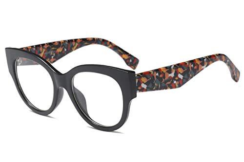 Allt Vintage Cat Eye Optical Eyewear Non-prescription Mod Eyeglasses Frame Clear Lenses For Women (Black(Flower)) ()