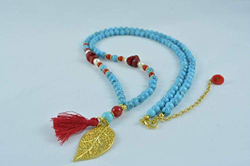 Pearl Turquoise Cross - Handmade Turquoise and Coral and Cultured Pearl Necklace