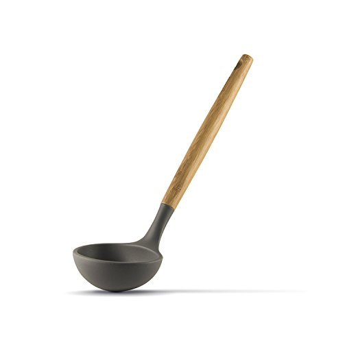 Flirty Kitchens Bamboo Nonstick Ladle Spoon (Silicone Ladle)