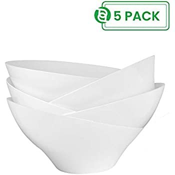 Party Bargain Angled Plastic Bowls | Heavy-duty Premium Quality Small Serving Bowl | Excellent for Weddings, Baby & Bridal Showers, Parties & More | White (5 Pack)