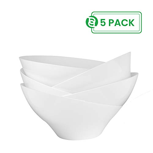 Party Bargain Angled Plastic Bowls | Heavy-duty Premium Quality Small Serving Bowl | Excellent for Weddings, Baby & Bridal Showers, Parties & More | White (5 Pack) -
