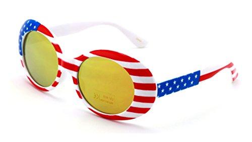 Printed Goggles - V.W.E. Vintage Sunglasses UV400 Bold Retro Oval Mod Thick Frame Sunglasses Clout Goggles White USA American Flag (Fire Mirror Lens)