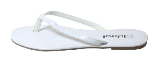 Naoma - stylischer Flip Flop Damen Zehentrenner Silber Gold NEON Farben in Lacklook 36 37 38 39 40 41 Weiß