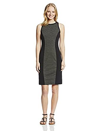 BB Dakota Women's Garrells Light Ponte Stripe and Solid Midi Dress, Black, X-Small