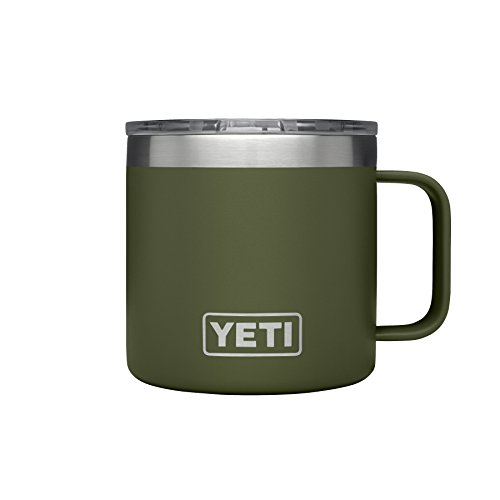 (YETI Rambler 14 oz Stainless Steel Vacuum Insulated Mug with Lid, Olive)