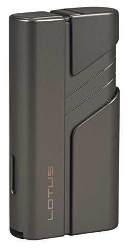 (Lotus Hercules Twin Pinpoint Lighter w/ Cigar Punch - Gunmetal)