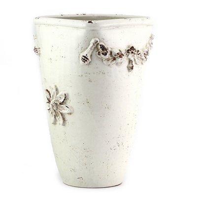 SCAVO ROBBIANA: Large Umbrella Stand Vase with Della Robbia bass relief motifs (Deruta Urns Pottery Italian)
