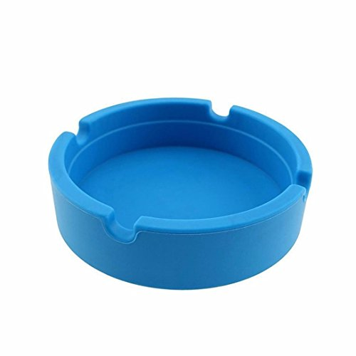 - LiPing Silicone Round Modern Tabletop Ashtray Cigarette Ashtray Ash Tray for Indoor or Outdoor Use Home office Decoration (Blue)