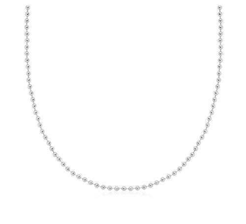 Verona Jewelers 925 Sterling Silver Italian 1.5MM, 2MM Silver Bead Ball Chain Necklace, Sterling Silver Bead Necklace, Silver Ball Necklaces, Italian Bead Necklace, Silver Beaded Necklace (30, 2MM)