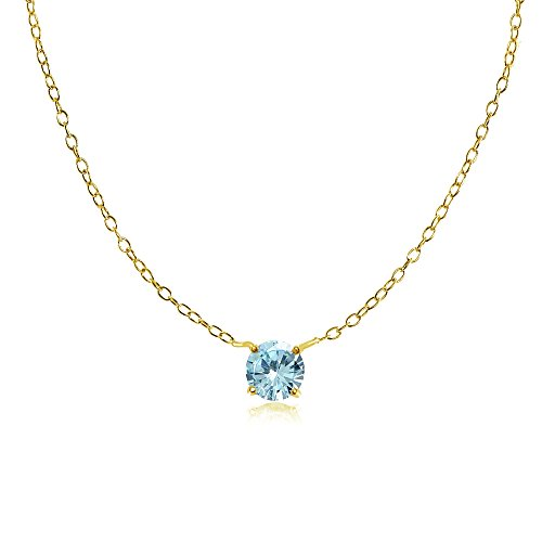 Yellow Gold Flashed Sterling Silver Small Dainty Round Blue Topaz Choker Necklace