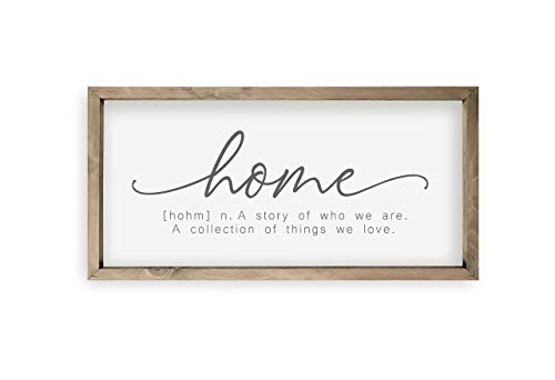 Home A Story Of Who We Are Framed Wood Farmhouse Wall Sign (9x18)
