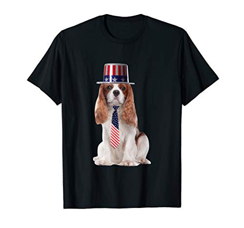 Cavalier King Charles 4th Of July Dog In Top Hat and Tie T-Shirt (Cavalier Tie)