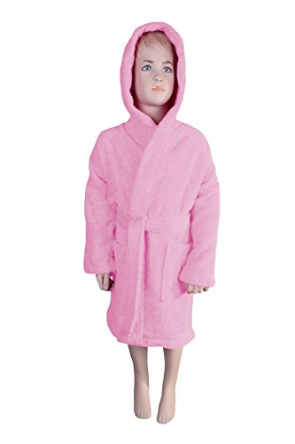 Kids Terry Hooded Robe for Boys and Girls, 100% Turkish Natural Soft Cotton, Made in TURKEY (Small/Medium, Light Pink)