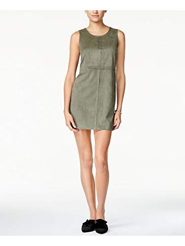 kensie Women's Stretch Suede Shift Dress, New Olive, M