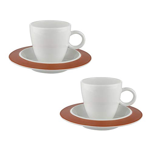 Alessi Bavero Coffee Mocha Espresso Set (Two Cups and Two Saucers)