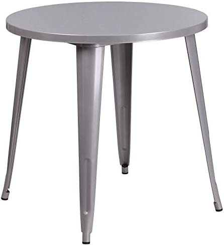Flash Furniture Commercial Grade 30 Round Silver Metal Indoor-Outdoor Table