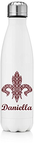 Maroon & White Tapered Water Bottle (Personalized)