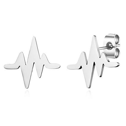 ELBLUVF Stainless steel Heart Beat Cardiogram Stud Earrings Jewelry for women
