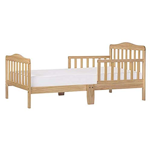 """Dream On Me Classic Toddler Bed in Natural with 2-in-1 Breathable Twilight 5"""" Spring Coil Crib and Toddler Bed Mattress with Reversible Design, White/Brown"""
