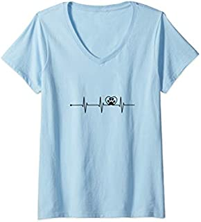 Womens Cat In Heartbeat Funny  | Cool Love All Cats Lady Gift V-Neck T-shirt | Size S - 5XL