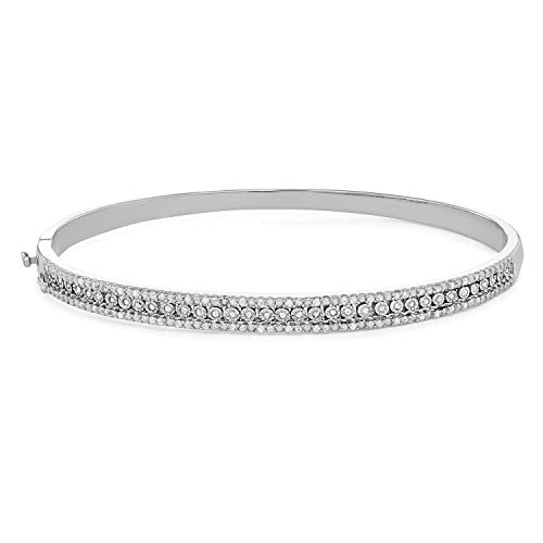 1/2 CTTW Sterling Silver White Diamond with illusion plate bangle