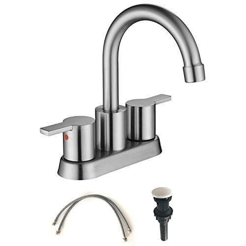 MOWA MBF15-9 Two-Handle Lavatory Brushed Nickel Faucet Lead-free cUPC Mixer Bathroom Vanity Sink Faucet Utility Laundry Faucet by MOWA