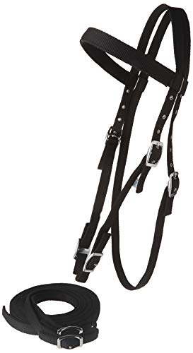 - Tahoe Tack Double Layered Draft Horse Nylon Western Headstall with Matching Reins
