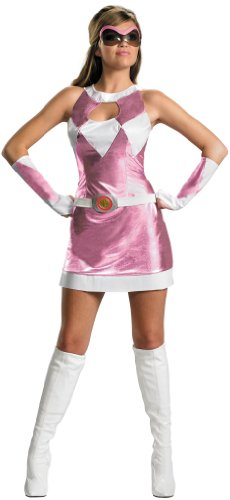 [Disguise Unisex Adult Sassy Deluxe Power Ranger, Pink/White, Large (12-14) Costume] (White Ranger Adult Costumes)