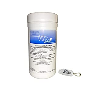 Audio-Wipes Cleaning Towelettes – Large Canister (160 Wipes) and Liberty Hearing Aid Battery Keychain