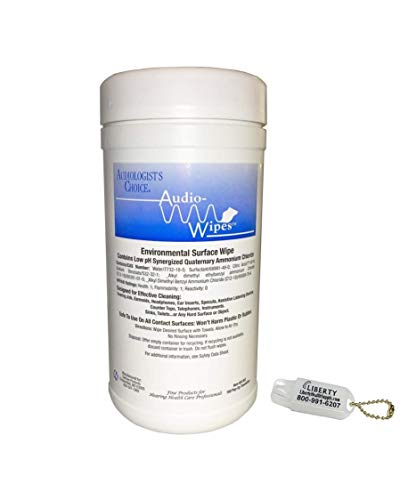 Audio-Wipes Cleaning Towelettes - Large Canister (160 Wipes) and Liberty Hearing Aid Battery Keychain