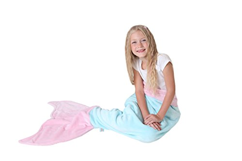 [Mermaid Tail Blanket - Soft and Warm Polar Fleece Fabric Blanket by Cuddly Blankets for Kids and Teens (Ages 3-12) (Aqua and Light] (Mermaid Fairy Costumes)