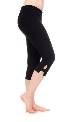 Hard Tail Side Slinger Rolldown Cropped Yoga Pants, L, Black ()