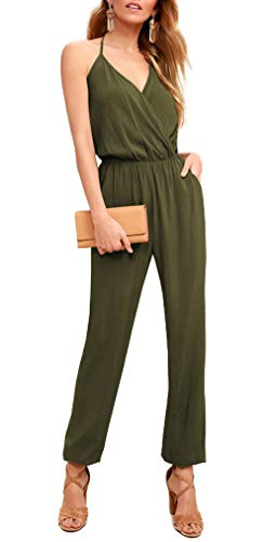 ZJCT Womens V Neck Jumpsuits Summer Casual Spaghetti Strap Sleeveless Elastic Waist Playsuit Rompers with Pockets Army Green S ()