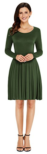Dress Green Tunic Round Sleeve Aixy T Shirt Skater Pleated Long Casual Women Flared Neck Army qFB7S