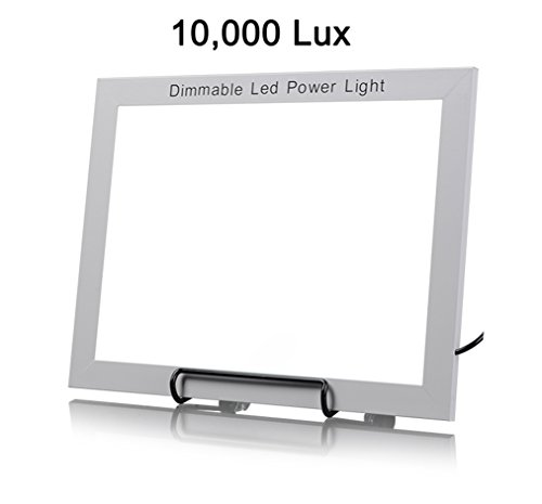 Portable Large 10,000 LUX Dimmable LED Bright Light Therapy Energy Lamp Therapy Light Box, Fatigue Concerntration Improve Large 11 x 8 Inch Light Area w Metal Stand